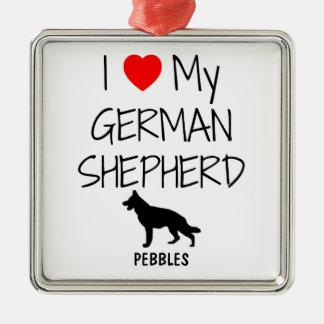Custom I Love My German Shepherd Christmas Ornament