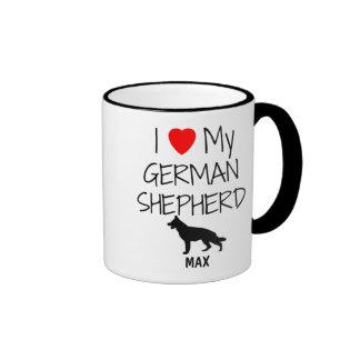 Custom I Love My German Shepherd Ringer Coffee Mug
