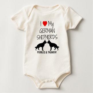 Custom I Love My German Shepherds Baby Bodysuit