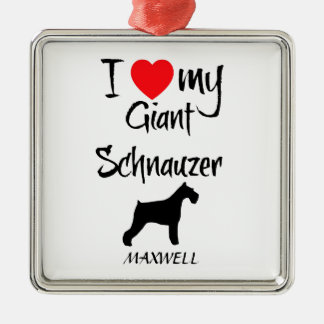 Custom I Love My Giant Schnauzer Christmas Ornament