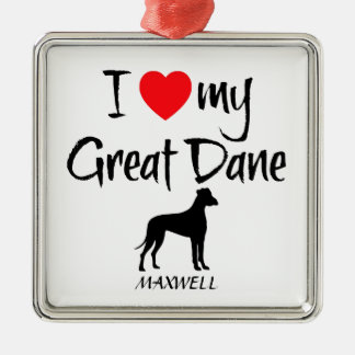Custom I Love My Great Dane Silver-Colored Square Decoration