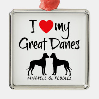 Custom I Love My Great Danes Silver-Colored Square Decoration