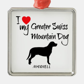 Custom I Love My Greater Swiss Mountain Dog Silver-Colored Square Decoration