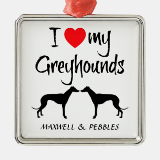 Custom I Love My Greyhound Dogs Silver-Colored Square Decoration