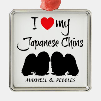Custom I Love My Japanese Chins Silver-Colored Square Decoration