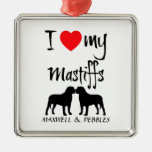 Custom I Love My Mastiffs Christmas Tree Ornament
