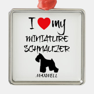 Custom I Love My Miniature Schnauzer Christmas Ornament