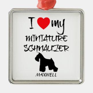 Custom I Love My Miniature Schnauzer Silver-Colored Square Decoration