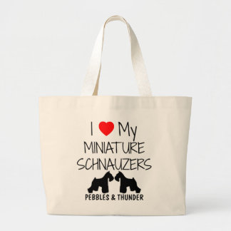 Custom I Love My Miniature Schnauzers Large Tote Bag