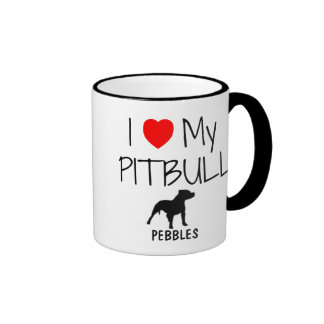 Custom I Love My Pitbull Ringer Mug