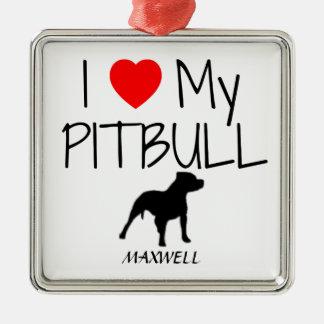 Custom I Love My Pitbull Silver-Colored Square Decoration