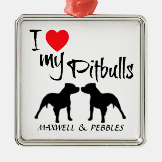 Custom I Love My Pitbulls Silver-Colored Square Decoration