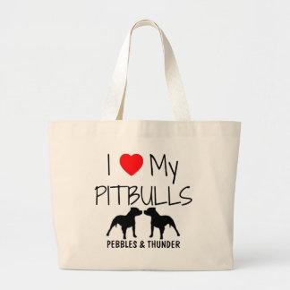 Custom I Love My Pitbulls Large Tote Bag