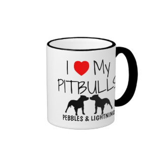 Custom I Love My Pitbulls Ringer Mug