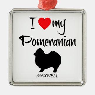 Custom I Love My Pomeranian Christmas Ornament