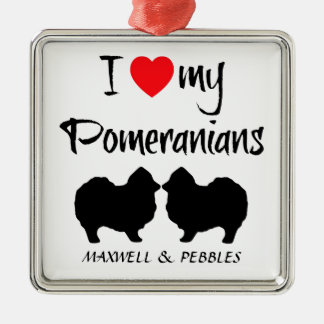 Custom I Love My Pomeranians Christmas Ornament