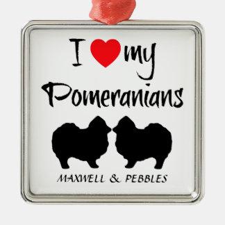Custom I Love My Pomeranians Silver-Colored Square Decoration