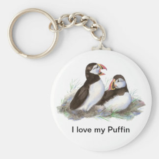 "Custom ""I love my Puffin"", Cute Watercolor Puffins Basic Round Button Key Ring"