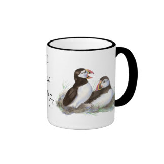"Custom ""I love my Puffin"", Cute Watercolor Puffins Coffee Mug"
