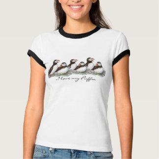 "Custom ""I love my Puffin"", Cute Watercolor Puffins Tshirts"