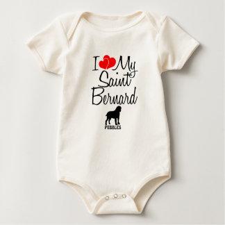 Custom I Love My Saint Bernard Baby Bodysuit
