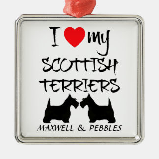 Custom I Love My Scottish Terriers Silver-Colored Square Decoration