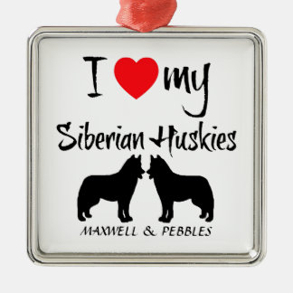 Custom I Love My Siberian Huskies Silver-Colored Square Decoration