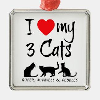 Custom I Love My Three Cats Christmas Ornament