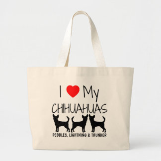 Custom I Love My Three Chihuahuas Large Tote Bag