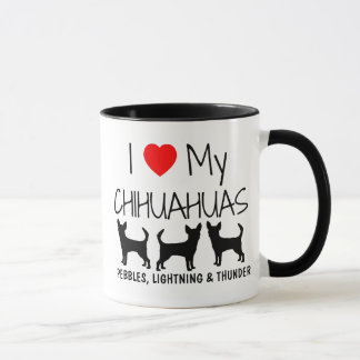 Custom I Love My Three Chihuahuas Mug