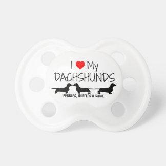 Custom I Love My Three Dachshunds Pacifier