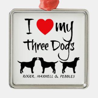 Custom I Love My Three Dogs Silver-Colored Square Decoration