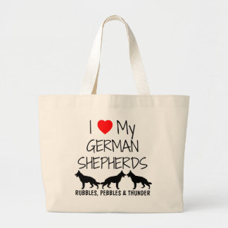 Custom I Love My Three German Shepherds Large Tote Bag