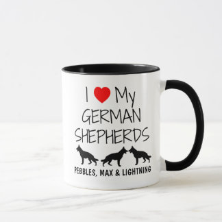 Custom I Love My Three German Shepherds Mug