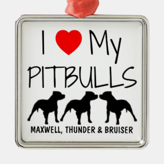 Custom I Love My Three Pitbulls Silver-Colored Square Decoration