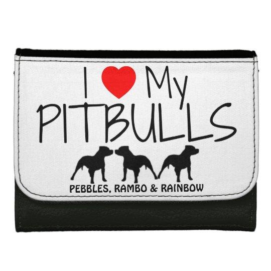 Custom I Love My Three Pitbulls Wallets