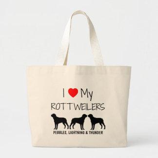 Custom I Love My Three Rottweilers Large Tote Bag