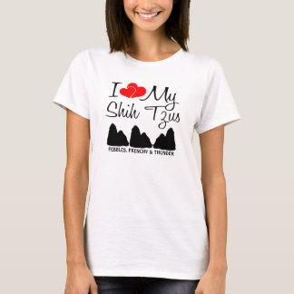 Custom I Love My Three Shih Tzus T-Shirt