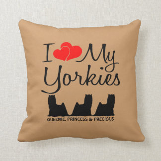 Custom I Love My Three Yorkies Cushion