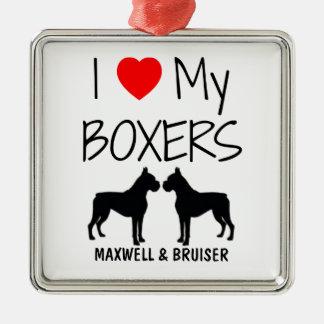 Custom I Love My Two Boxers Christmas Ornament