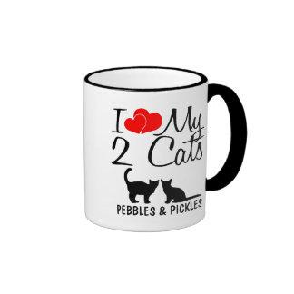 Custom I Love My Two Cats Mug