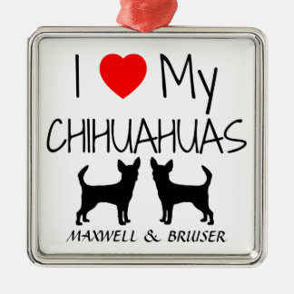 Custom I Love My Two Chihuahua Dogs Christmas Ornament