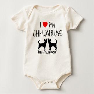 Custom I Love My Two Chihuahuas Baby Bodysuit