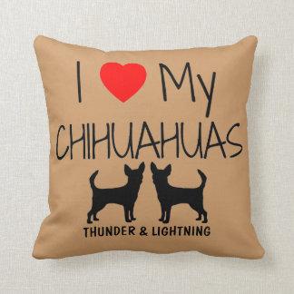 Custom I Love My Two Chihuahuas Cushion
