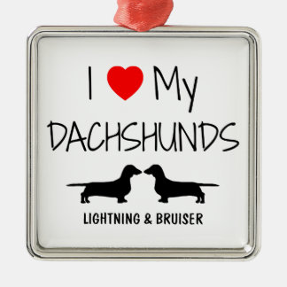 Custom I Love My Two Dachshunds Christmas Ornament