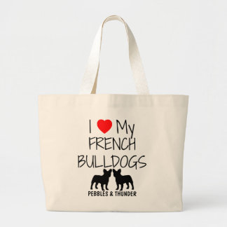 Custom I Love My Two French Bulldogs Jumbo Tote Bag