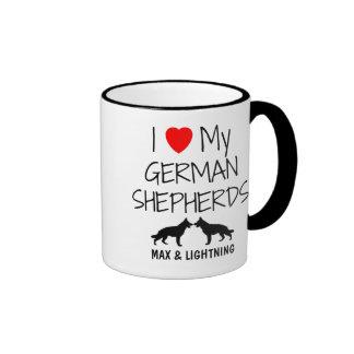 Custom I Love My Two German Shepherds Ringer Coffee Mug