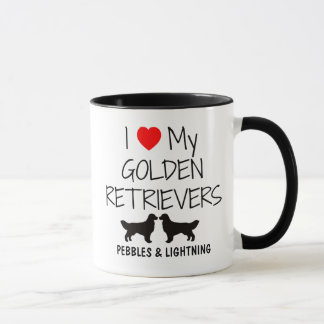 Custom I Love My Two Golden Retrievers Mug