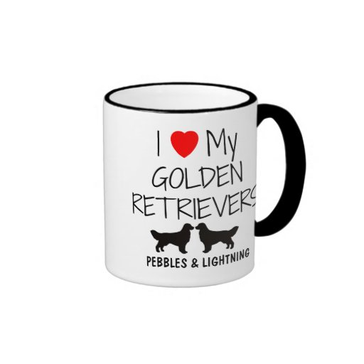 Custom I Love My Two Golden Retrievers Mug