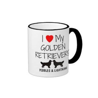 Custom I Love My Two Golden Retrievers Ringer Mug